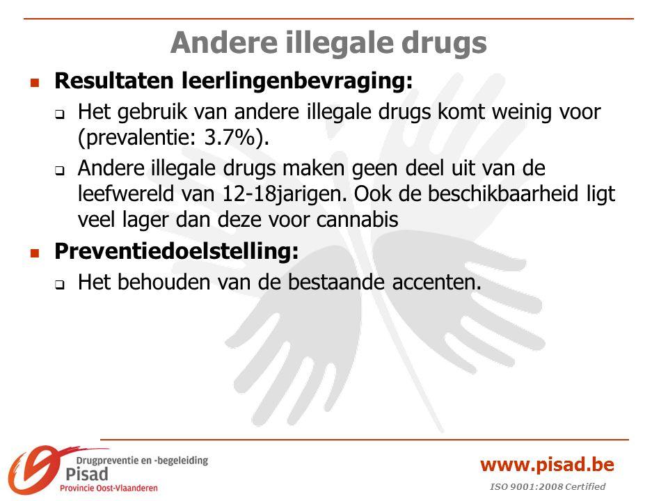 ISO 9001:2008 Certified www.pisad.be Andere illegale drugs Resultaten leerlingenbevraging:  Het gebruik van andere illegale drugs komt weinig voor (prevalentie: 3.7%).
