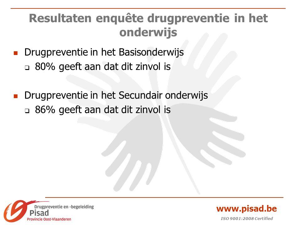 ISO 9001:2008 Certified www.pisad.be Resultaten enquête drugpreventie in het onderwijs Drugpreventie in het Basisonderwijs  80% geeft aan dat dit zinvol is Drugpreventie in het Secundair onderwijs  86% geeft aan dat dit zinvol is