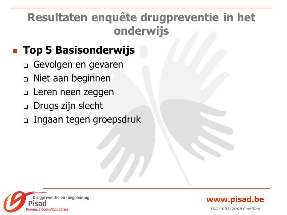 ISO 9001:2008 Certified www.pisad.be Resultaten enquête drugpreventie in het onderwijs Top 5 Basisonderwijs  Gevolgen en gevaren  Niet aan beginnen  Leren neen zeggen  Drugs zijn slecht  Ingaan tegen groepsdruk