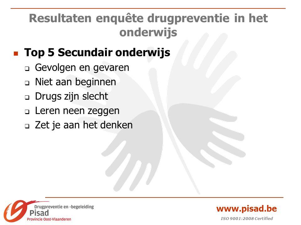 ISO 9001:2008 Certified www.pisad.be Resultaten enquête drugpreventie in het onderwijs Top 5 Secundair onderwijs  Gevolgen en gevaren  Niet aan beginnen  Drugs zijn slecht  Leren neen zeggen  Zet je aan het denken