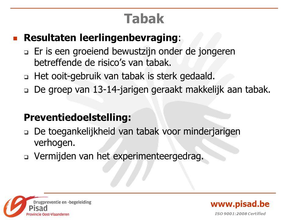 ISO 9001:2008 Certified www.pisad.be Tabak Resultaten leerlingenbevraging:  Er is een groeiend bewustzijn onder de jongeren betreffende de risico's van tabak.