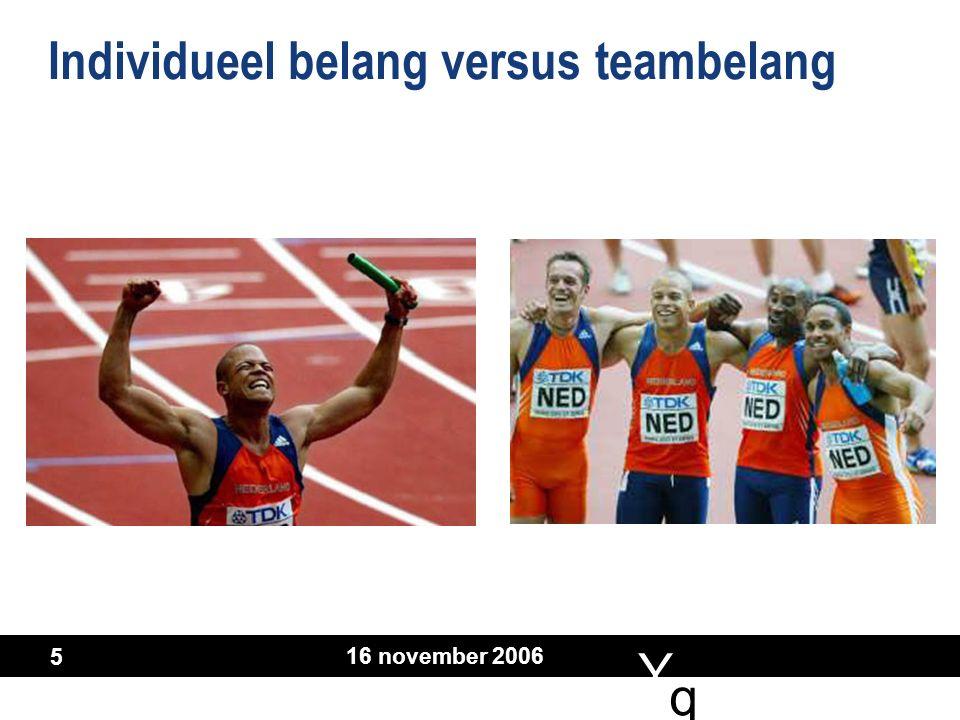 Y q q 16 november 2006 5 Individueel belang versus teambelang