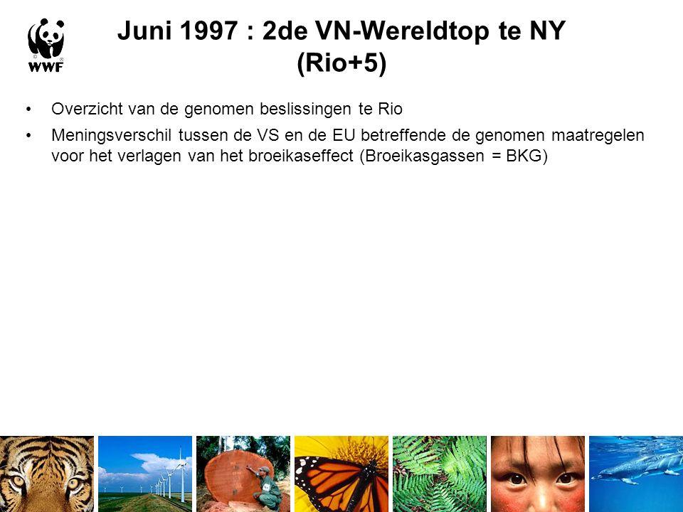 Juni 1997 : 2de VN-Wereldtop te NY (Rio+5) Overzicht van de genomen beslissingen te Rio Meningsverschil tussen de VS en de EU betreffende de genomen maatregelen voor het verlagen van het broeikaseffect (Broeikasgassen = BKG)