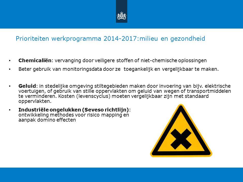 Prioriteiten werkprogramma 2014-2017:milieu en gezondheid Chemicaliën: vervanging door veiligere stoffen of niet-chemische oplossingen Beter gebruik van monitoringsdata door ze toegankelijk en vergelijkbaar te maken.