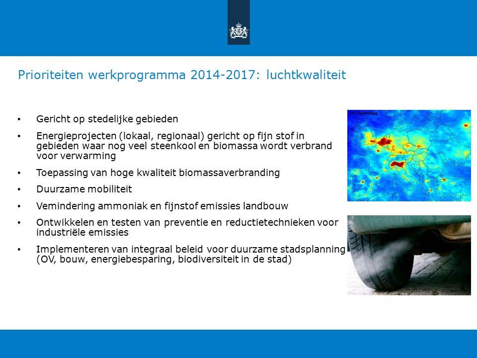 Prioriteiten werkprogramma 2014-2017: luchtkwaliteit Gericht op stedelijke gebieden Energieprojecten (lokaal, regionaal) gericht op fijn stof in gebieden waar nog veel steenkool en biomassa wordt verbrand voor verwarming Toepassing van hoge kwaliteit biomassaverbranding Duurzame mobiliteit Vemindering ammoniak en fijnstof emissies landbouw Ontwikkelen en testen van preventie en reductietechnieken voor industriële emissies Implementeren van integraal beleid voor duurzame stadsplanning (OV, bouw, energiebesparing, biodiversiteit in de stad)
