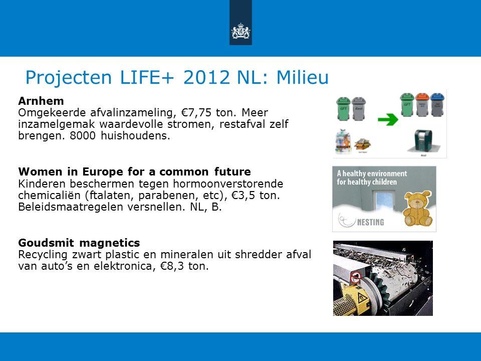 Projecten LIFE+ 2012 NL: Milieu Arnhem Omgekeerde afvalinzameling, €7,75 ton.