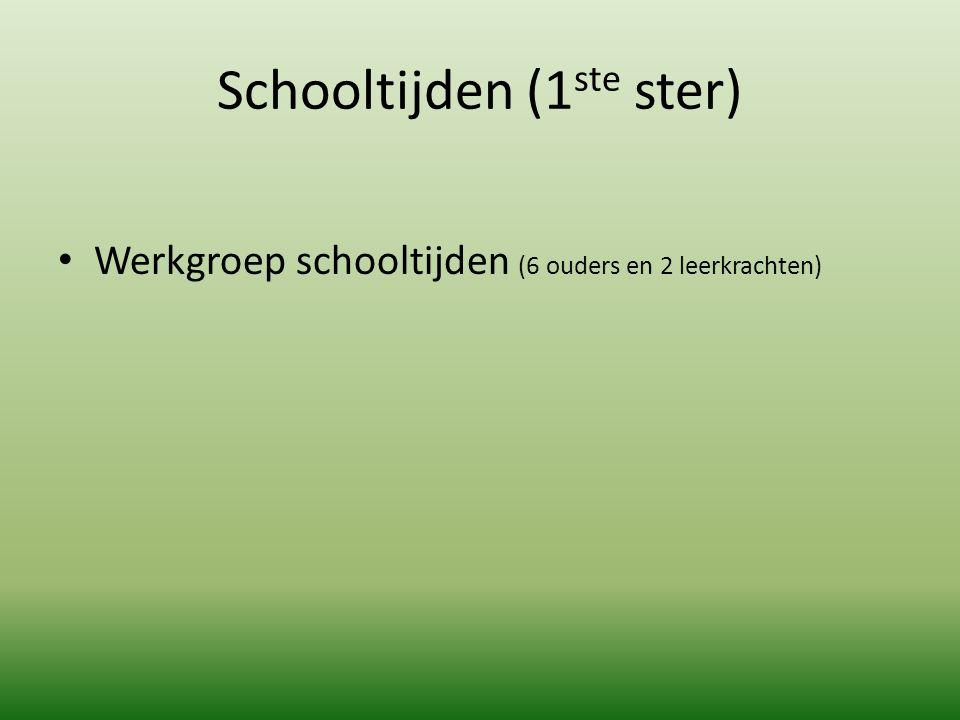 Schooltijden (1 ste ster) Werkgroep schooltijden (6 ouders en 2 leerkrachten)