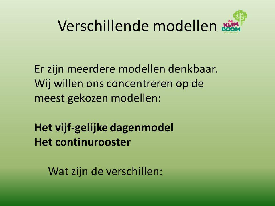 Verschillende modellen Er zijn meerdere modellen denkbaar. Wij willen ons concentreren op de meest gekozen modellen: Het vijf-gelijke dagenmodel Het c