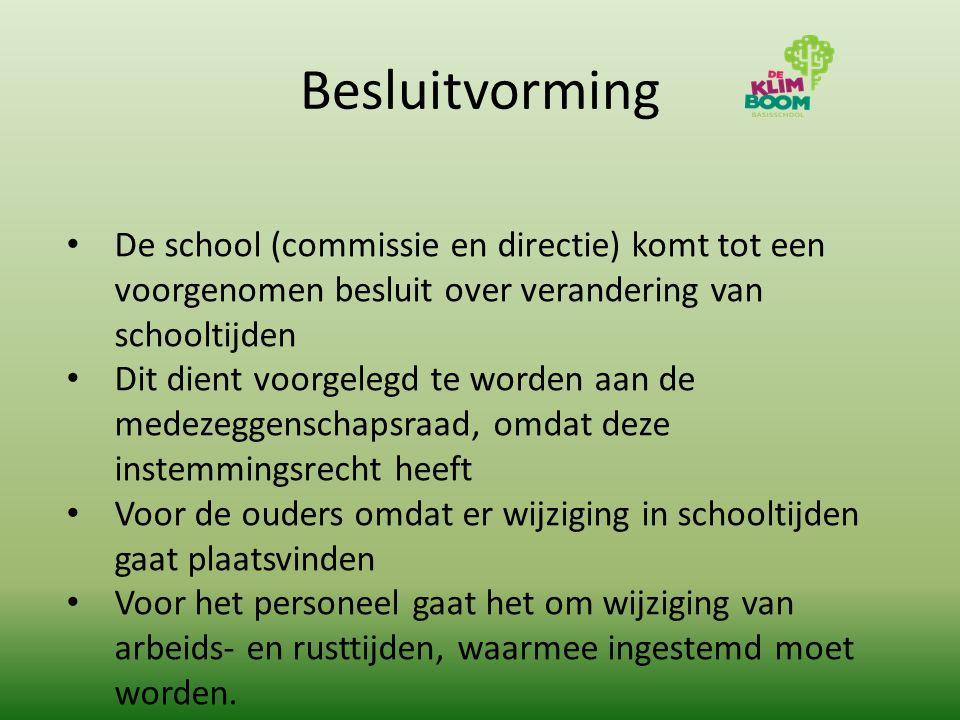 Besluitvorming De school (commissie en directie) komt tot een voorgenomen besluit over verandering van schooltijden Dit dient voorgelegd te worden aan