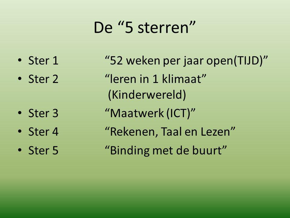 """De """"5 sterren"""" Ster 1 """"52 weken per jaar open(TIJD)"""" Ster 2 """"leren in 1 klimaat"""" (Kinderwereld) Ster 3""""Maatwerk (ICT)"""" Ster 4""""Rekenen, Taal en Lezen"""""""