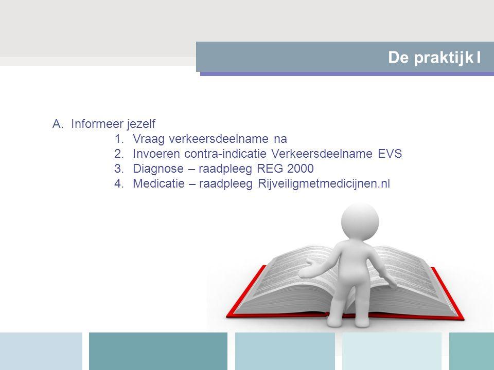 De praktijk I A.Informeer jezelf 1.Vraag verkeersdeelname na 2.Invoeren contra-indicatie Verkeersdeelname EVS 3.Diagnose – raadpleeg REG 2000 4.Medica