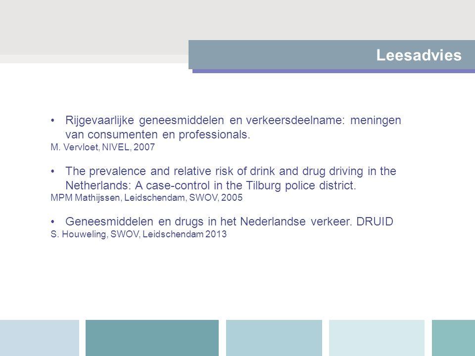 Leesadvies Rijgevaarlijke geneesmiddelen en verkeersdeelname: meningen van consumenten en professionals. M. Vervloet, NIVEL, 2007 The prevalence and r