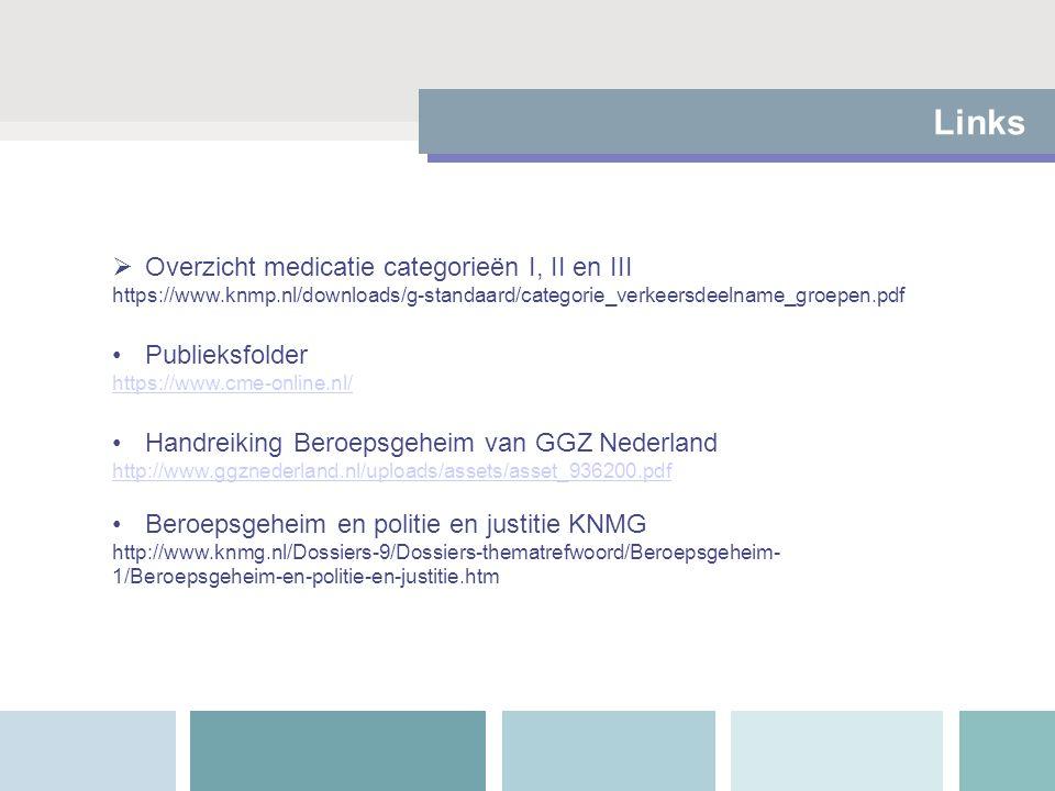 Links  Overzicht medicatie categorieën I, II en III https://www.knmp.nl/downloads/g-standaard/categorie_verkeersdeelname_groepen.pdf Publieksfolder h