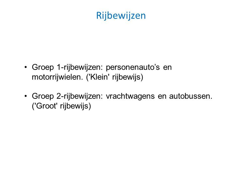 Rijbewijzen Groep 1-rijbewijzen: personenauto's en motorrijwielen. ('Klein' rijbewijs) Groep 2-rijbewijzen: vrachtwagens en autobussen. ('Groot' rijbe