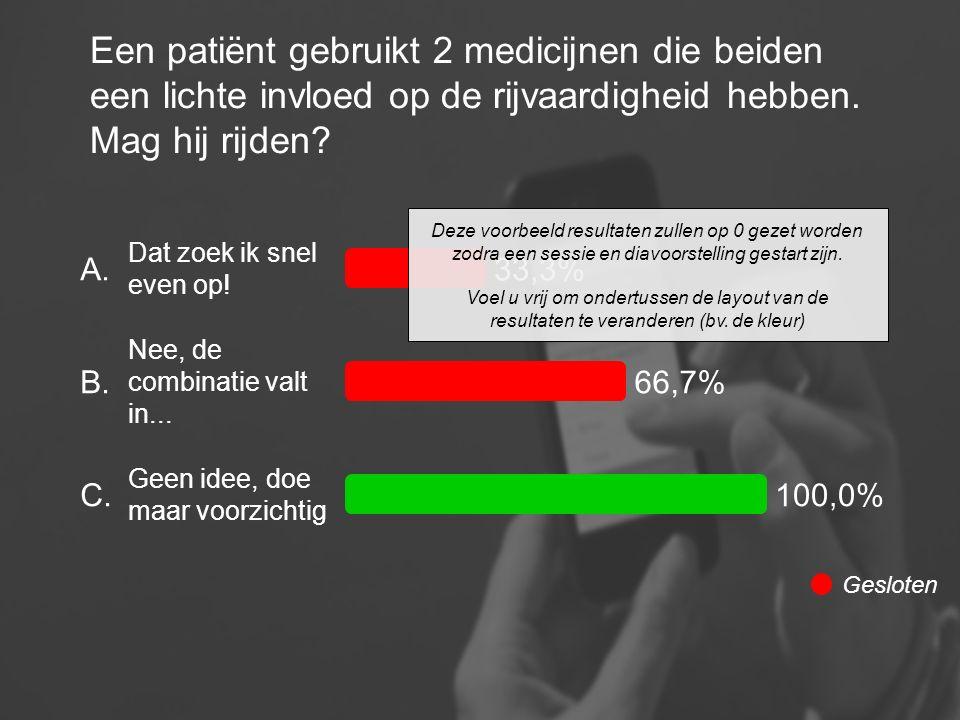Een patiënt gebruikt 2 medicijnen die beiden een lichte invloed op de rijvaardigheid hebben. Mag hij rijden? A. B. C. Dat zoek ik snel even op! Nee, d