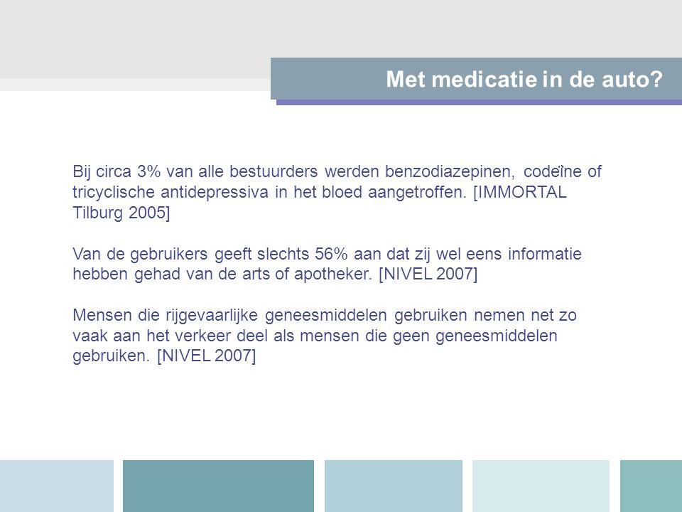 Met medicatie in de auto? Bij circa 3% van alle bestuurders werden benzodiazepinen, codei ̈ ne of tricyclische antidepressiva in het bloed aangetroffe