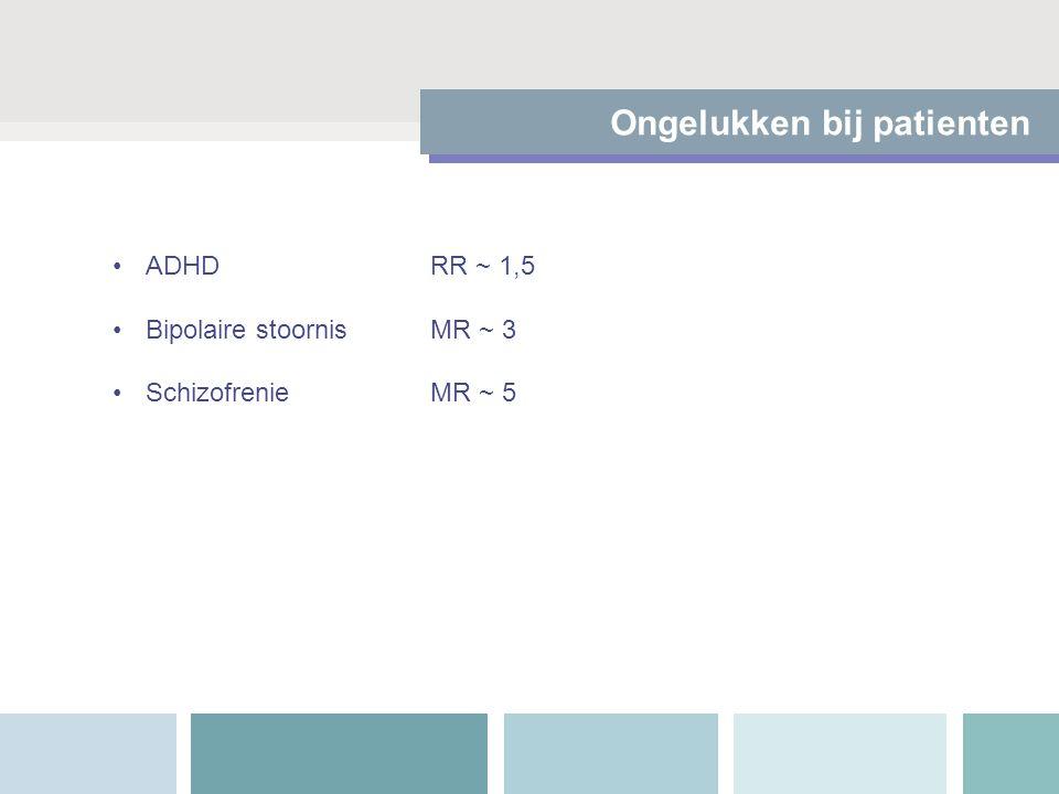Ongelukken bij patienten ADHDRR ~ 1,5 Bipolaire stoornisMR ~ 3 SchizofrenieMR ~ 5
