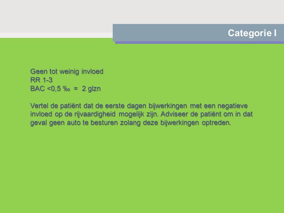 Categorie I Geen tot weinig invloed RR 1-3 BAC <0,5 ‰ = 2 glzn Vertel de patiënt dat de eerste dagen bijwerkingen met een negatieve invloed op de rijv