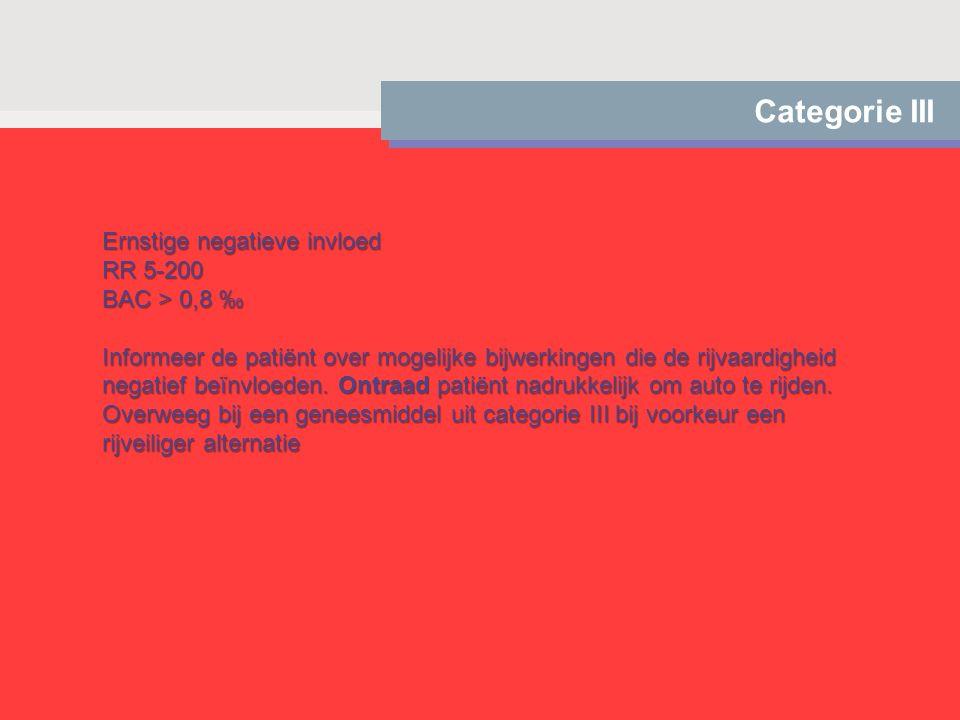 Categorie III Ernstige negatieve invloed RR 5-200 BAC > 0,8 ‰ Informeer de patiënt over mogelijke bijwerkingen die de rijvaardigheid negatief beïnvloe