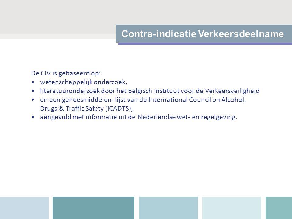 Contra-indicatie Verkeersdeelname De CIV is gebaseerd op: wetenschappelijk onderzoek, literatuuronderzoek door het Belgisch Instituut voor de Verkeers