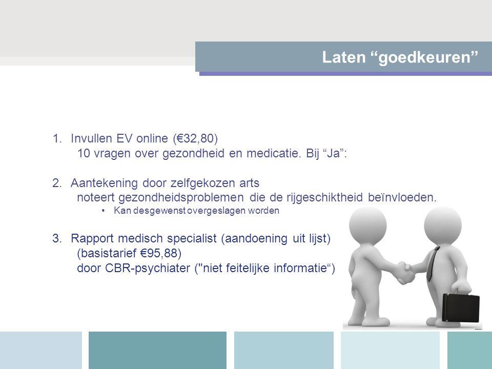 """Laten """"goedkeuren"""" 1.Invullen EV online (€32,80) 10 vragen over gezondheid en medicatie. Bij """"Ja"""": 2.Aantekening door zelfgekozen arts noteert gezondh"""