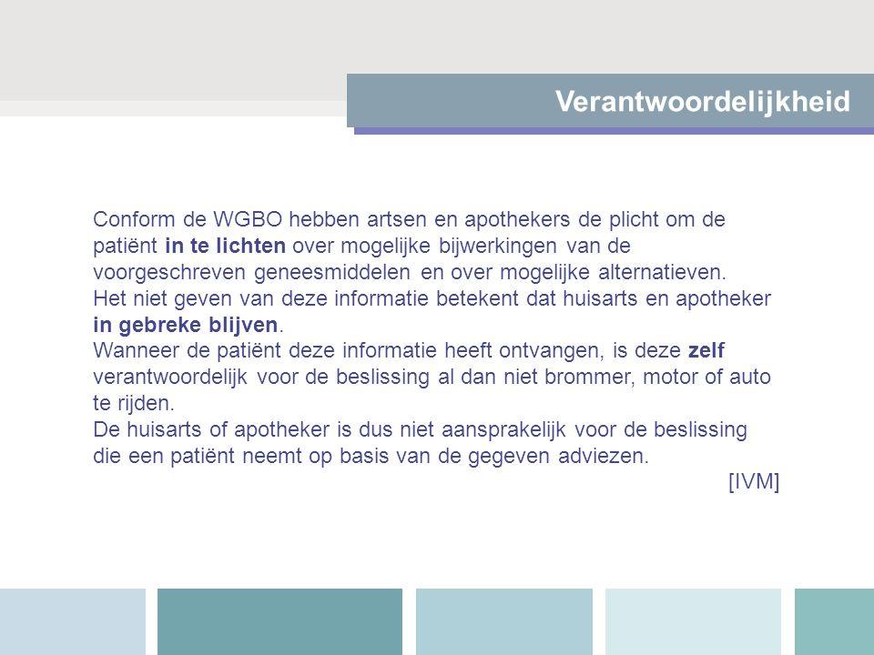 Verantwoordelijkheid Conform de WGBO hebben artsen en apothekers de plicht om de patiënt in te lichten over mogelijke bijwerkingen van de voorgeschrev