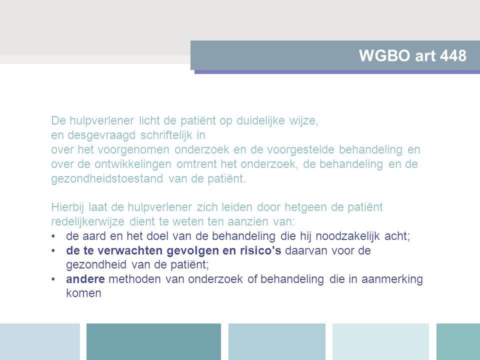 WGBO art 448 De hulpverlener licht de patiënt op duidelijke wijze, en desgevraagd schriftelijk in over het voorgenomen onderzoek en de voorgestelde be