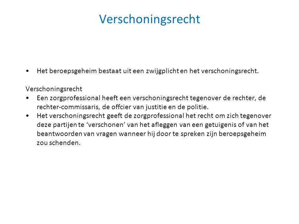 Verschoningsrecht Het beroepsgeheim bestaat uit een zwijgplicht en het verschoningsrecht. Verschoningsrecht Een zorgprofessional heeft een verschoning