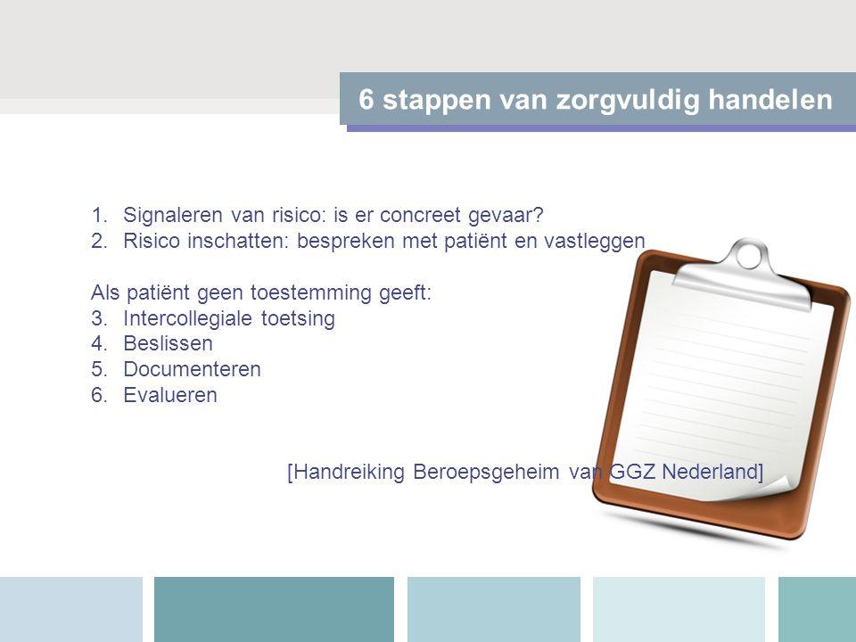 6 stappen van zorgvuldig handelen 1.Signaleren van risico: is er concreet gevaar? 2.Risico inschatten: bespreken met patiënt en vastleggen Als patiënt