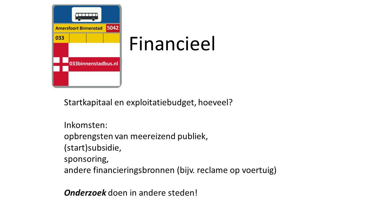 Financieel Startkapitaal en exploitatiebudget, hoeveel.