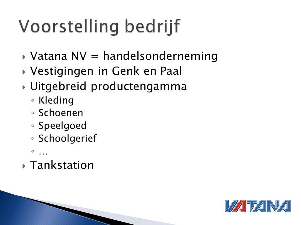  Vatana NV = handelsonderneming  Vestigingen in Genk en Paal  Uitgebreid productengamma ◦ Kleding ◦ Schoenen ◦ Speelgoed ◦ Schoolgerief ◦ …  Tankstation