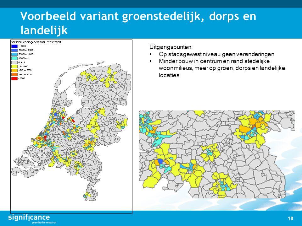 Voorbeeld variant groenstedelijk, dorps en landelijk 18 Uitgangspunten: Op stadsgewest niveau geen veranderingen Minder bouw in centrum en rand stedel