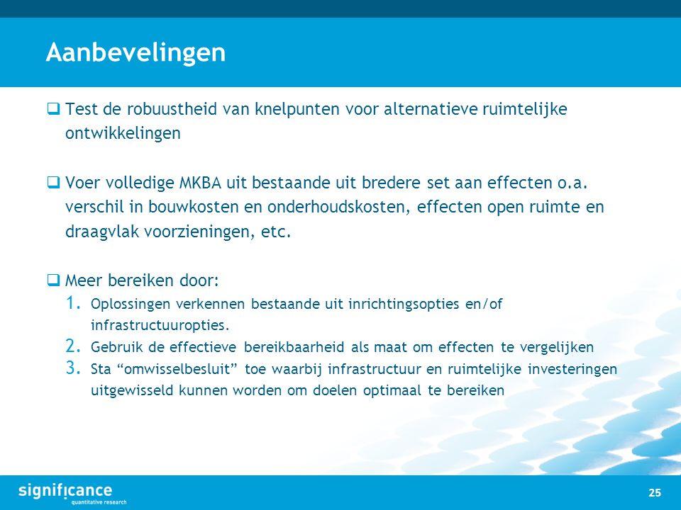 Aanbevelingen  Test de robuustheid van knelpunten voor alternatieve ruimtelijke ontwikkelingen  Voer volledige MKBA uit bestaande uit bredere set aa