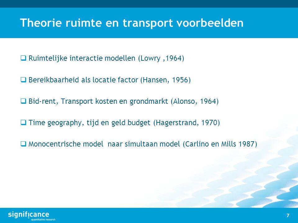 Theorie ruimte en transport voorbeelden  Ruimtelijke interactie modellen (Lowry,1964)  Bereikbaarheid als locatie factor (Hansen, 1956)  Bid-rent,