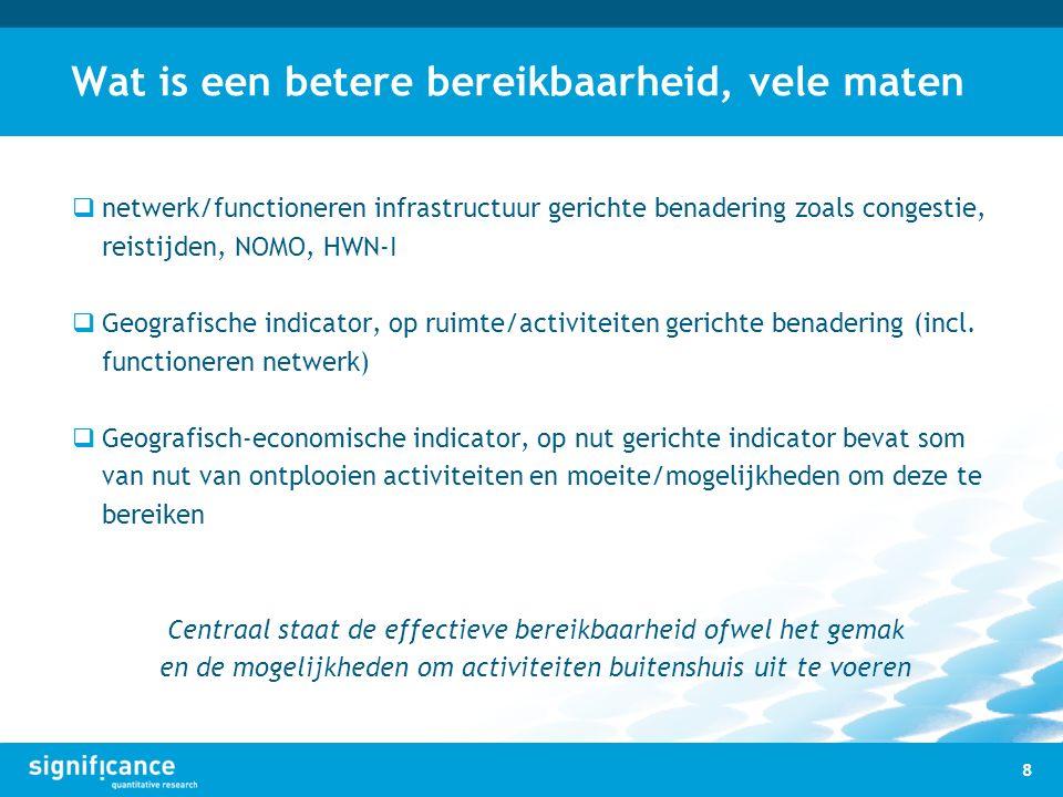 Wat is een betere bereikbaarheid, vele maten  netwerk/functioneren infrastructuur gerichte benadering zoals congestie, reistijden, NOMO, HWN-I  Geog