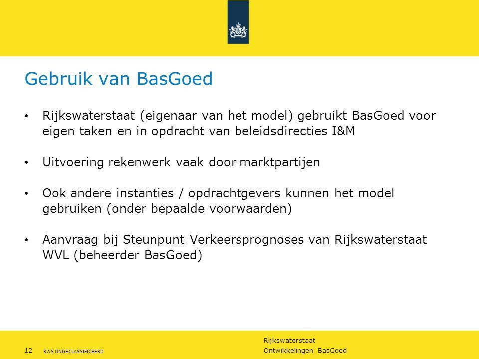 Rijkswaterstaat 12Ontwikkelingen BasGoed RWS ONGECLASSIFICEERD Rijkswaterstaat (eigenaar van het model) gebruikt BasGoed voor eigen taken en in opdrac