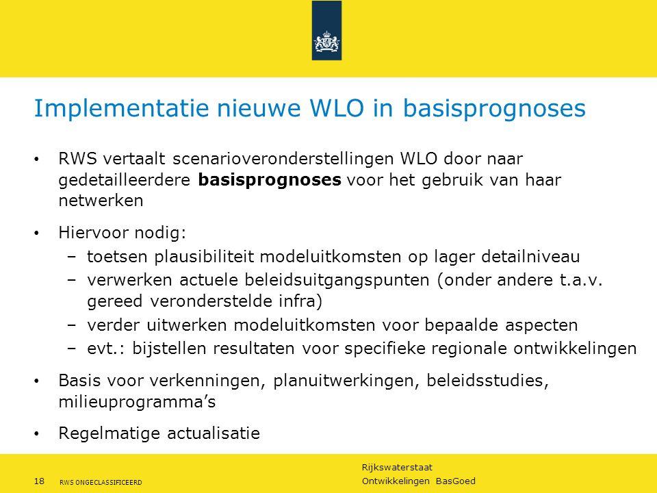 Rijkswaterstaat 18Ontwikkelingen BasGoed RWS ONGECLASSIFICEERD Implementatie nieuwe WLO in basisprognoses RWS vertaalt scenarioveronderstellingen WLO