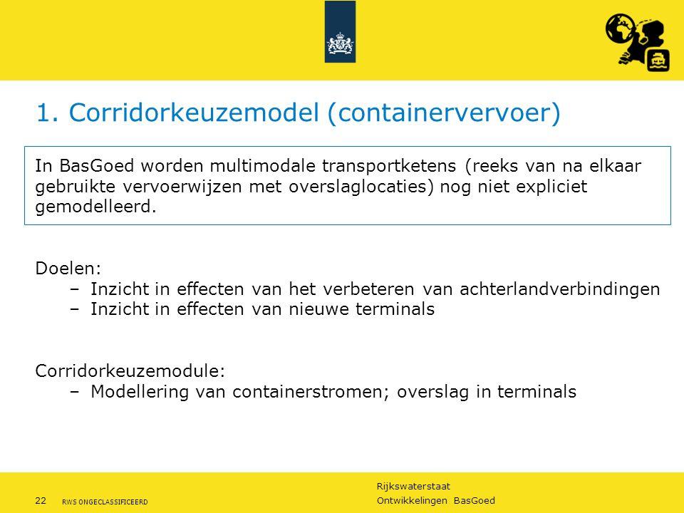 Rijkswaterstaat 22Ontwikkelingen BasGoed RWS ONGECLASSIFICEERD 1. Corridorkeuzemodel (containervervoer) In BasGoed worden multimodale transportketens