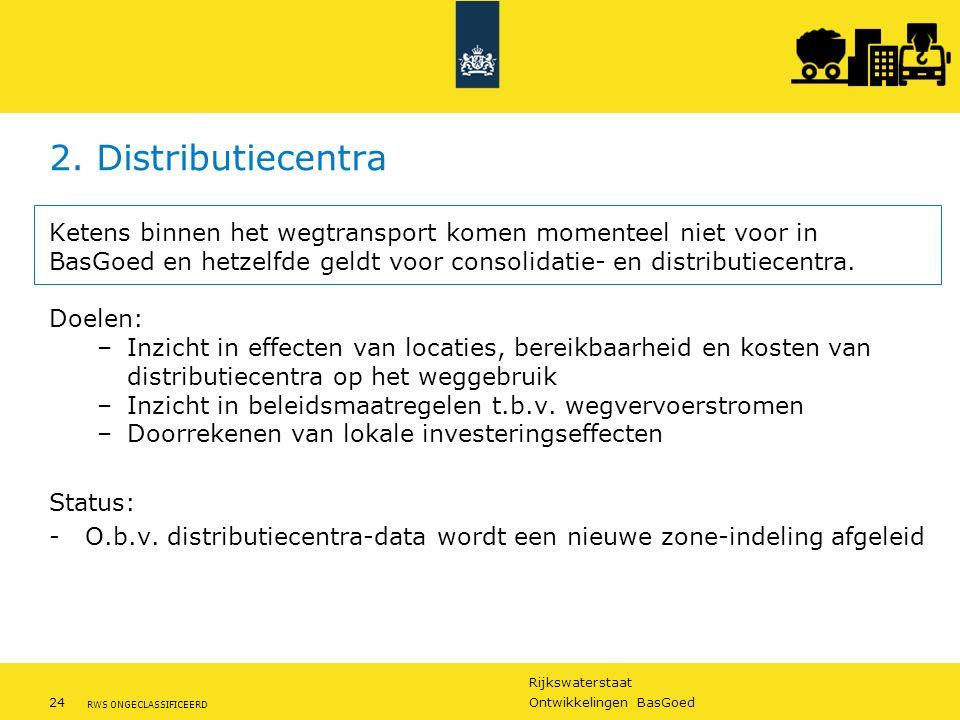Rijkswaterstaat 24Ontwikkelingen BasGoed RWS ONGECLASSIFICEERD 2. Distributiecentra Ketens binnen het wegtransport komen momenteel niet voor in BasGoe