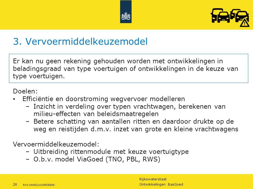 Rijkswaterstaat 26Ontwikkelingen BasGoed RWS ONGECLASSIFICEERD 3. Vervoermiddelkeuzemodel Er kan nu geen rekening gehouden worden met ontwikkelingen i