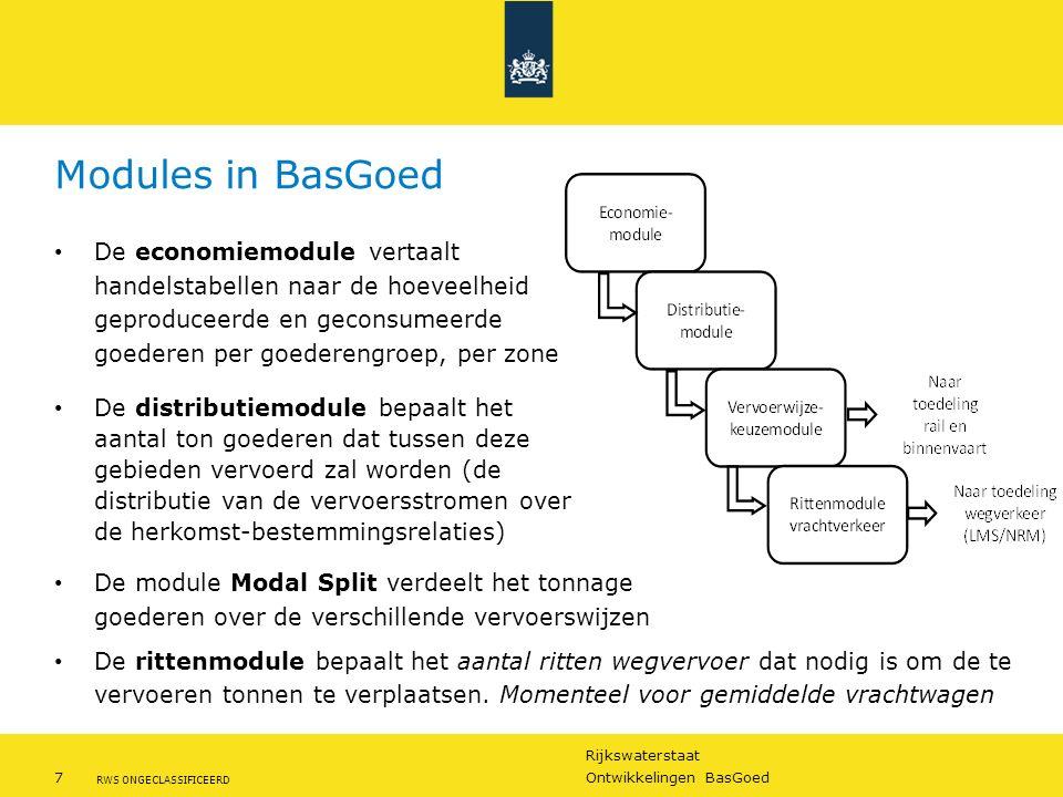 Rijkswaterstaat 7Ontwikkelingen BasGoed RWS ONGECLASSIFICEERD Modules in BasGoed De economiemodule vertaalt handelstabellen naar de hoeveelheid geprod