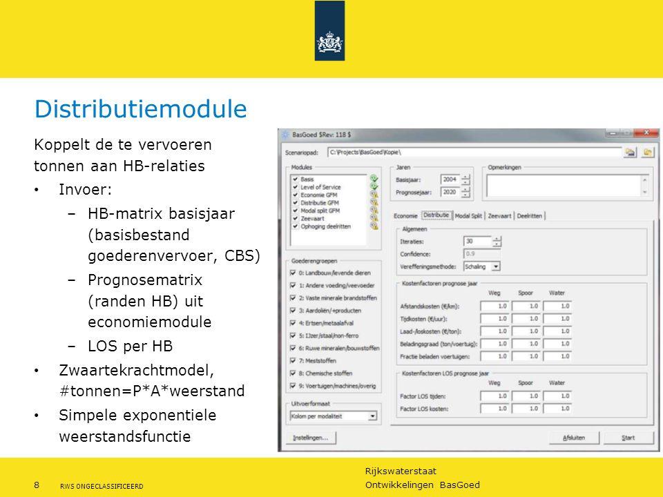 Rijkswaterstaat 8Ontwikkelingen BasGoed RWS ONGECLASSIFICEERD Distributiemodule Koppelt de te vervoeren tonnen aan HB-relaties Invoer: –HB-matrix basi