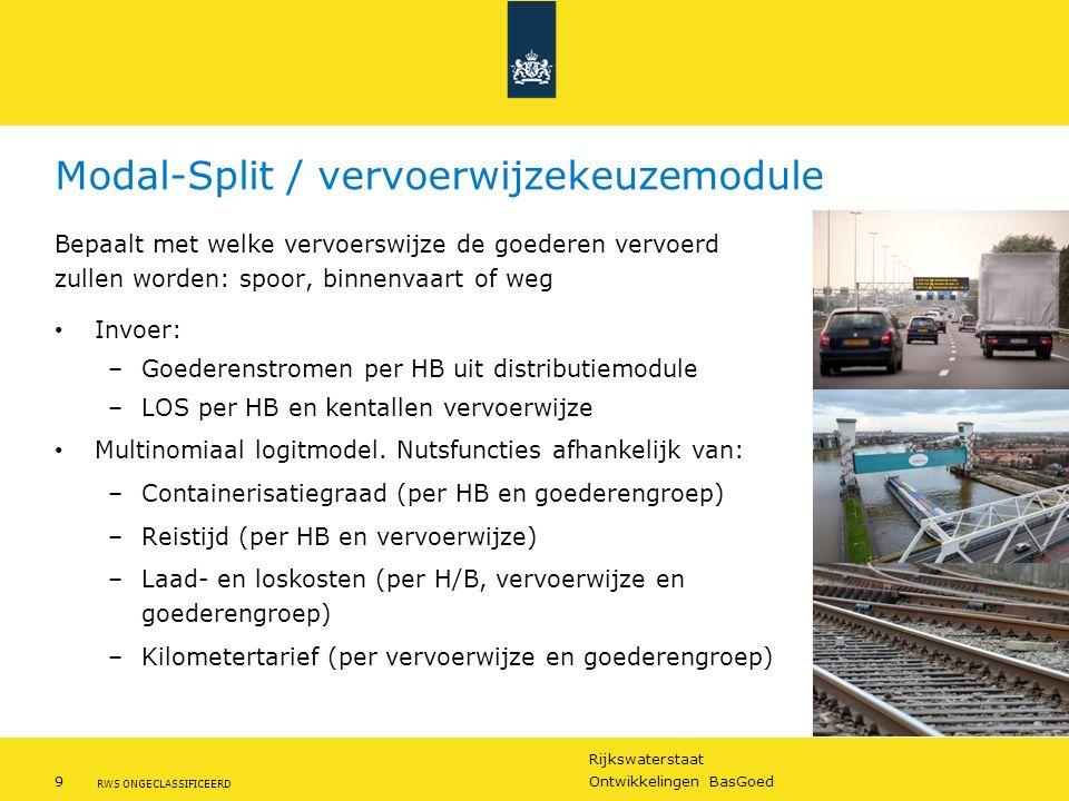 Rijkswaterstaat 9Ontwikkelingen BasGoed RWS ONGECLASSIFICEERD Modal-Split / vervoerwijzekeuzemodule Bepaalt met welke vervoerswijze de goederen vervoe