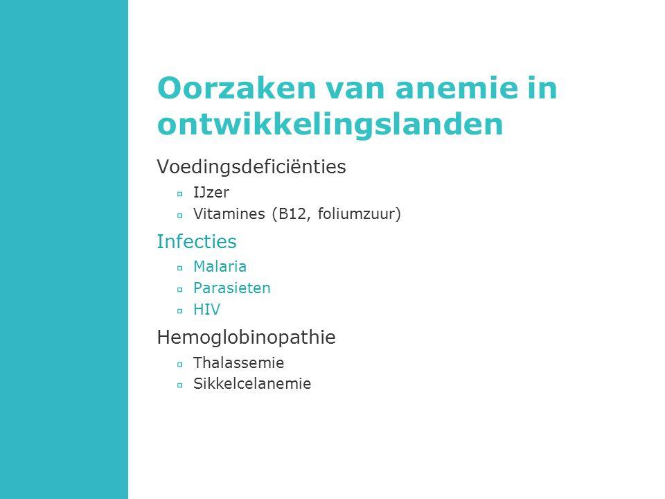 Oorzaken van anemie in ontwikkelingslanden Voedingsdeficiënties IJzer Vitamines (B12, foliumzuur) Infecties Malaria Parasieten HIV Hemoglobinopathie Thalassemie Sikkelcelanemie