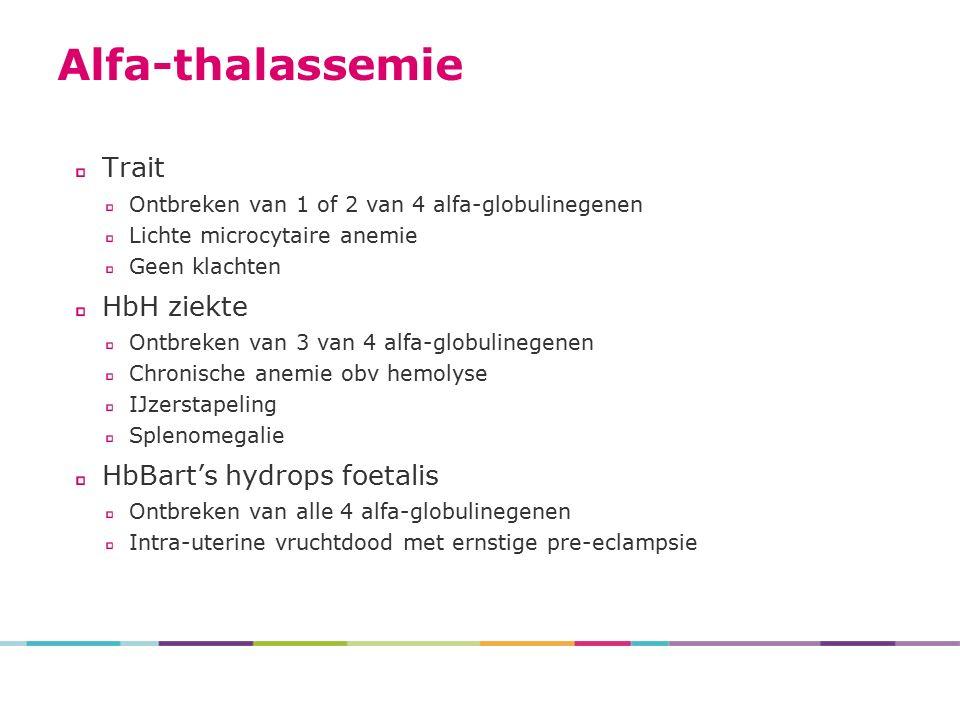 Trait Ontbreken van 1 of 2 van 4 alfa-globulinegenen Lichte microcytaire anemie Geen klachten HbH ziekte Ontbreken van 3 van 4 alfa-globulinegenen Chronische anemie obv hemolyse IJzerstapeling Splenomegalie HbBart's hydrops foetalis Ontbreken van alle 4 alfa-globulinegenen Intra-uterine vruchtdood met ernstige pre-eclampsie Alfa-thalassemie