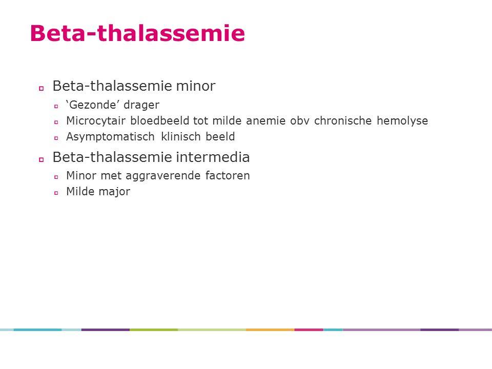 Beta-thalassemie minor 'Gezonde' drager Microcytair bloedbeeld tot milde anemie obv chronische hemolyse Asymptomatisch klinisch beeld Beta-thalassemie intermedia Minor met aggraverende factoren Milde major Beta-thalassemie