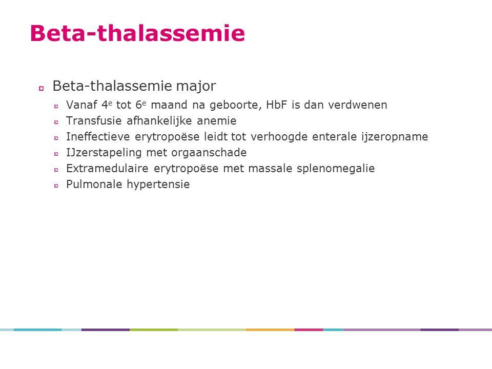 Beta-thalassemie major Vanaf 4 e tot 6 e maand na geboorte, HbF is dan verdwenen Transfusie afhankelijke anemie Ineffectieve erytropoëse leidt tot verhoogde enterale ijzeropname IJzerstapeling met orgaanschade Extramedulaire erytropoëse met massale splenomegalie Pulmonale hypertensie Beta-thalassemie