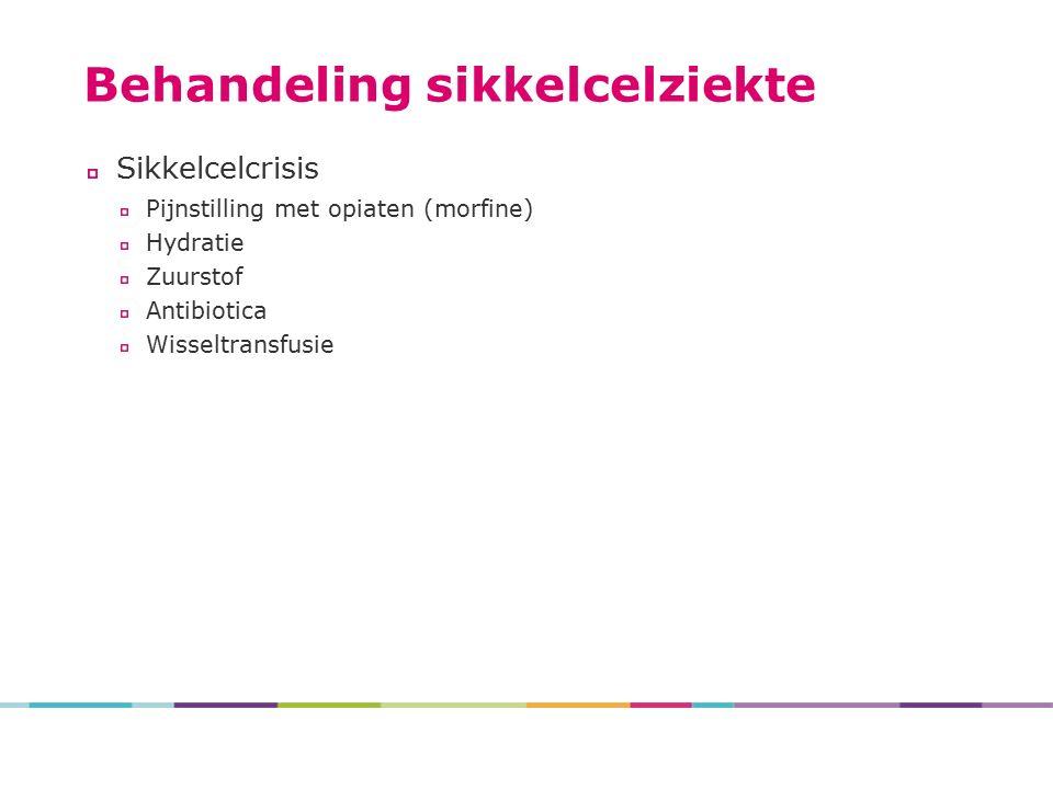 Behandeling sikkelcelziekte Sikkelcelcrisis Pijnstilling met opiaten (morfine) Hydratie Zuurstof Antibiotica Wisseltransfusie