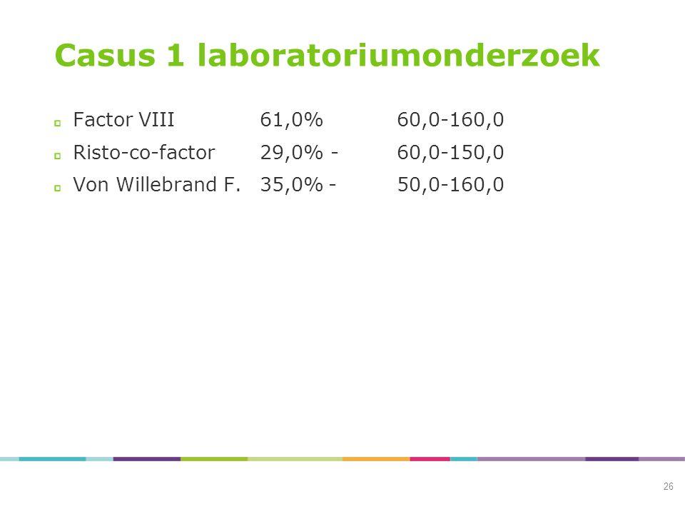 Casus 1 laboratoriumonderzoek Factor VIII61,0%60,0-160,0 Risto-co-factor29,0% -60,0-150,0 Von Willebrand F.35,0%-50,0-160,0 26