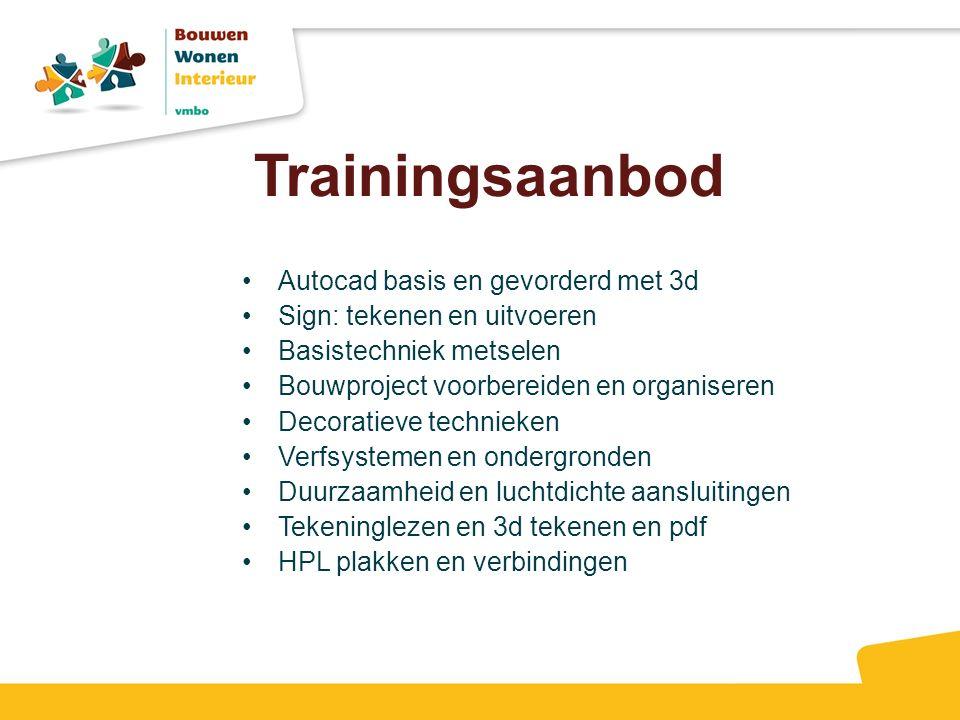 Trainingsaanbod Autocad basis en gevorderd met 3d Sign: tekenen en uitvoeren Basistechniek metselen Bouwproject voorbereiden en organiseren Decoratiev